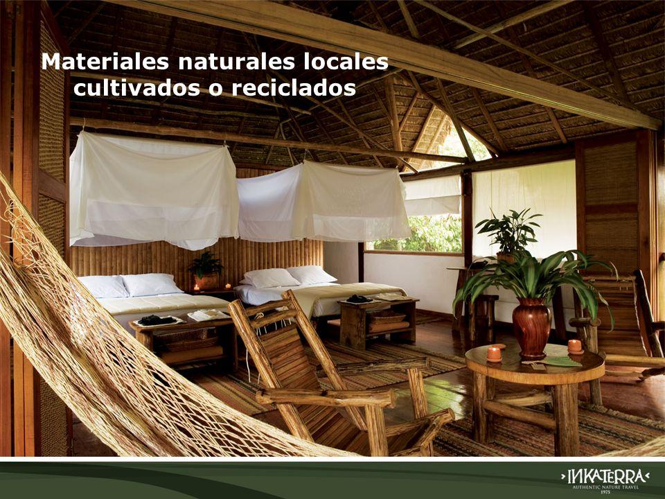 Materiales naturales locales cultivados o reciclados