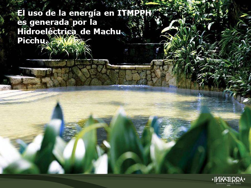 El uso de la energía en ITMPPH es generada por la Hidroeléctrica de Machu Picchu.