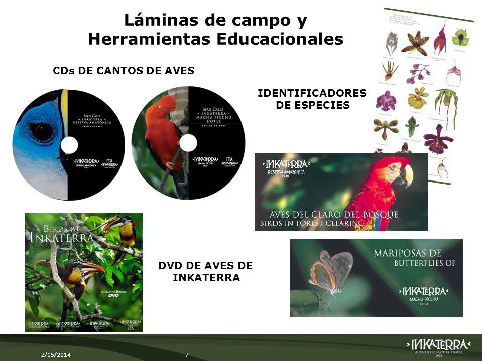 2/15/20147 Láminas de campo y Herramientas Educacionales CDs DE CANTOS DE AVES IDENTIFICADORES DE ESPECIES DVD DE AVES DE INKATERRA