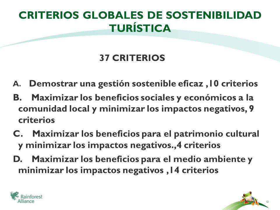 CRITERIOS GLOBALES DE SOSTENIBILIDAD TURÍSTICA A. Demostrar una gestión sostenible eficaz,10 criterios B. Maximizar los beneficios sociales y económic