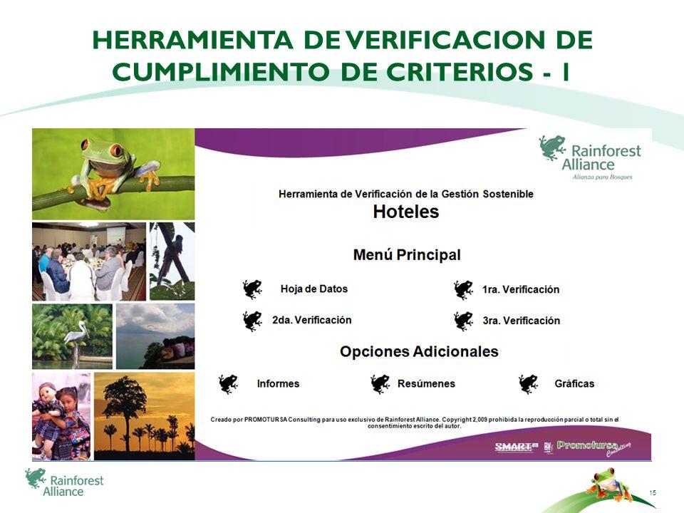 15 HERRAMIENTA DE VERIFICACION DE CUMPLIMIENTO DE CRITERIOS - 1