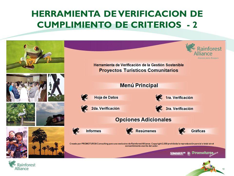 16 HERRAMIENTA DE VERIFICACION DE CUMPLIMIENTO DE CRITERIOS - 2