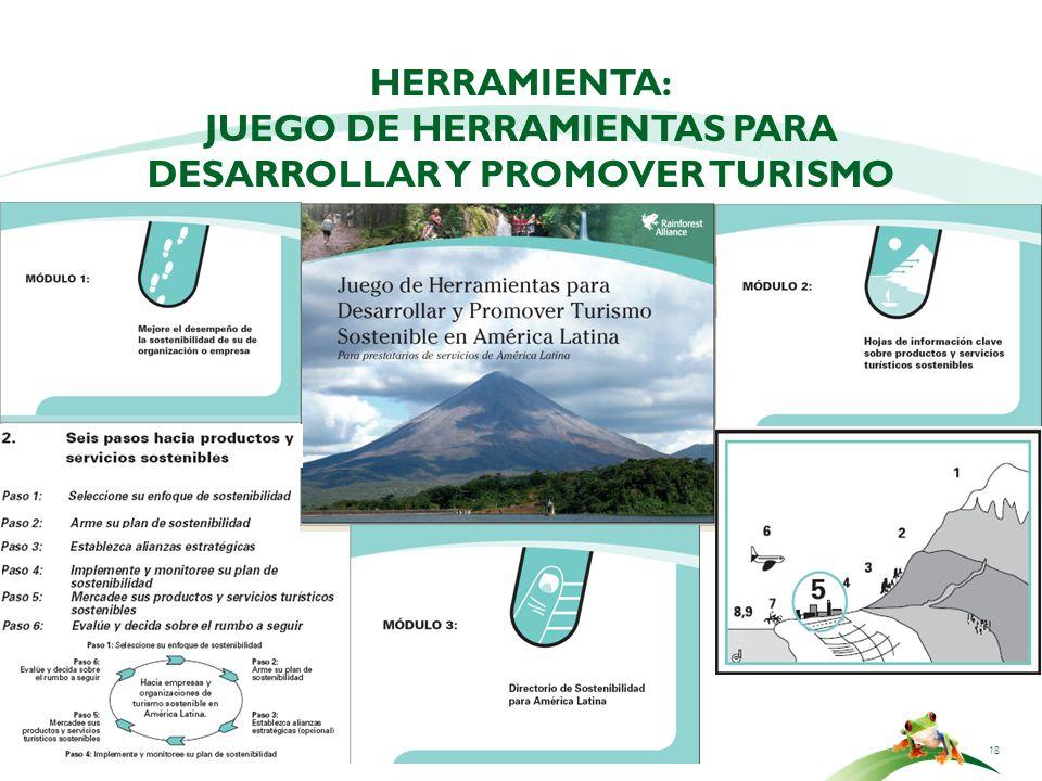 18 HERRAMIENTA: JUEGO DE HERRAMIENTAS PARA DESARROLLAR Y PROMOVER TURISMO SOSTENIBLE: PARA PRESTATARIOS DE SERVICIOS
