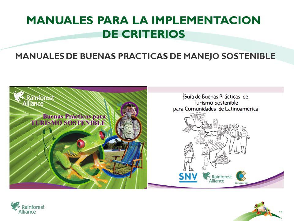 19 MANUALES PARA LA IMPLEMENTACION DE CRITERIOS MANUALES DE BUENAS PRACTICAS DE MANEJO SOSTENIBLE