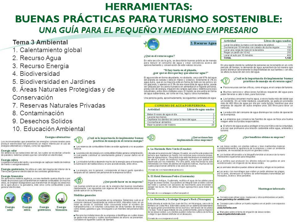 HERRAMIENTAS: BUENAS PRÁCTICAS PARA TURISMO SOSTENIBLE: UNA GUÍA PARA EL PEQUEÑO Y MEDIANO EMPRESARIO 23 Tema 3 Ambiental 1. Calentamiento global 2. R
