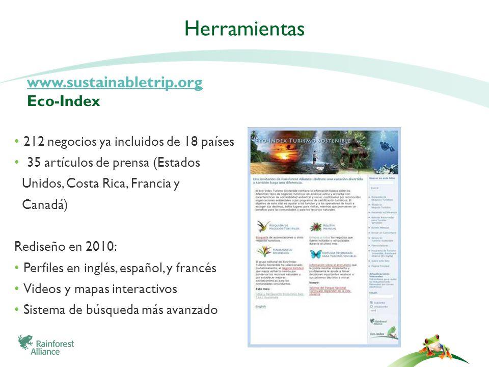 www.sustainabletrip.org www.sustainabletrip.org Eco-Index 212 negocios ya incluidos de 18 países 35 artículos de prensa (Estados Unidos, Costa Rica, F