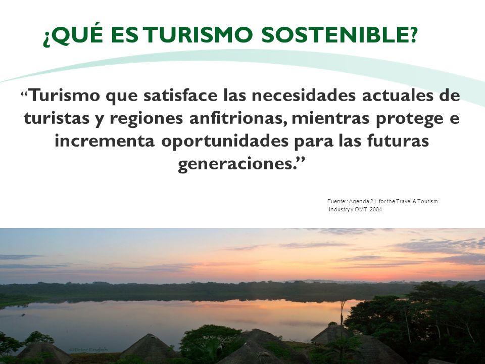 5 ¿QUÉ ES TURISMO SOSTENIBLE? Turismo que satisface las necesidades actuales de turistas y regiones anfitrionas, mientras protege e incrementa oportun