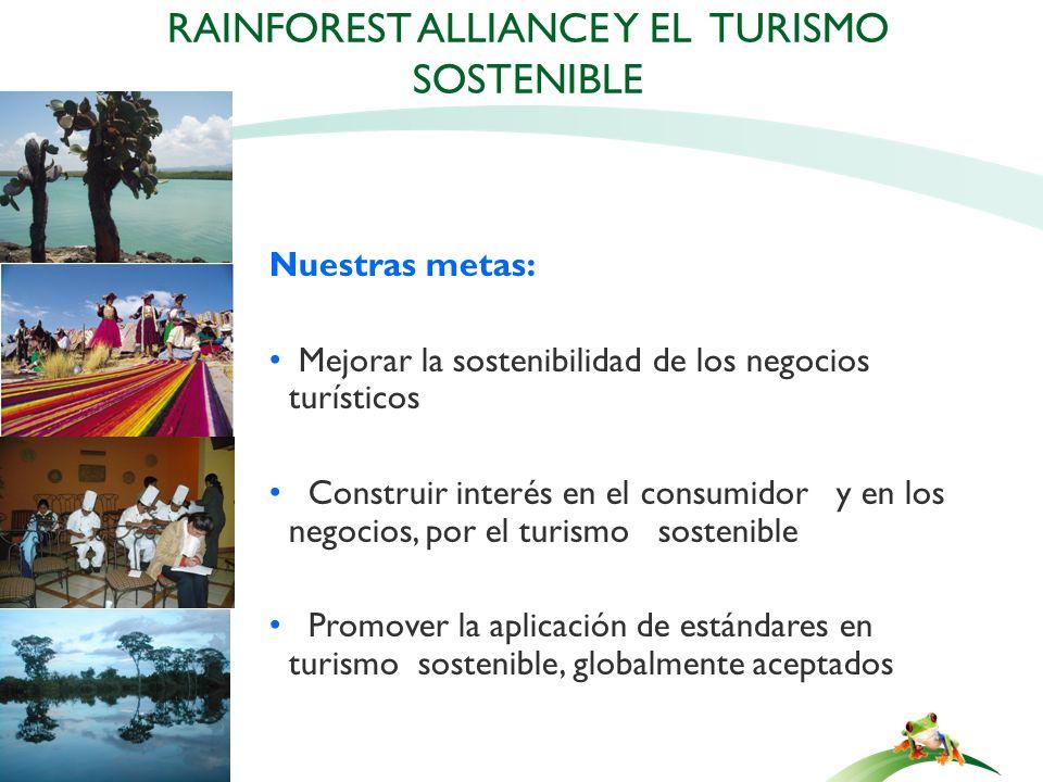 Nuestras metas: Mejorar la sostenibilidad de los negocios turísticos Construir interés en el consumidor y en los negocios, por el turismo sostenible P