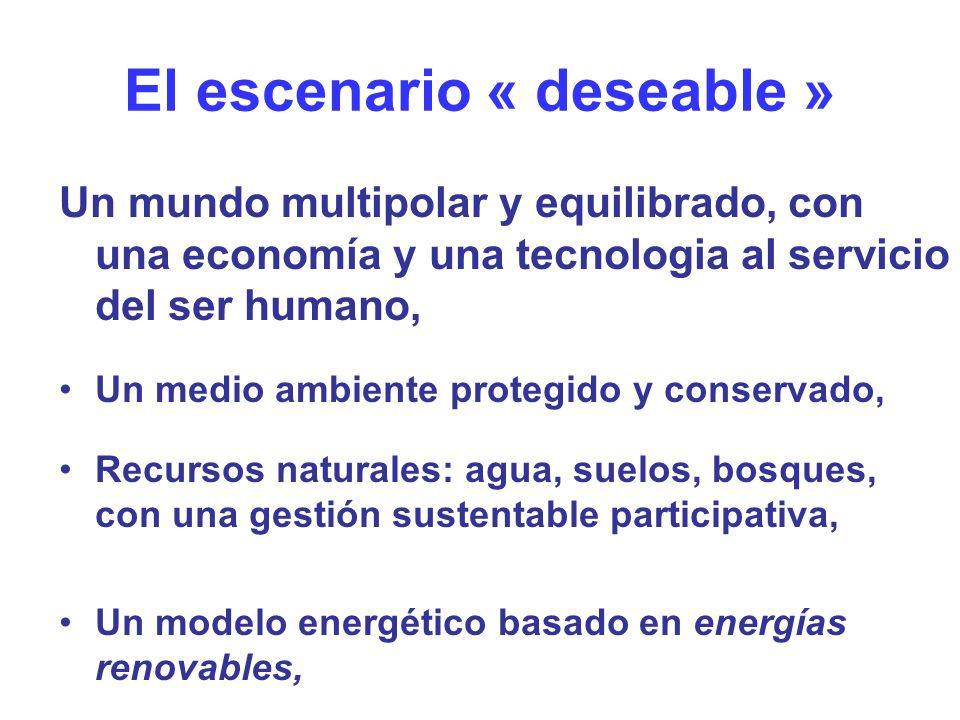 El escenario « deseable » Un mundo multipolar y equilibrado, con una economía y una tecnologia al servicio del ser humano, Un medio ambiente protegido