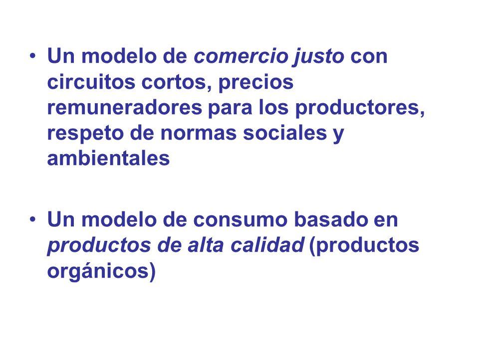 Un modelo de comercio justo con circuitos cortos, precios remuneradores para los productores, respeto de normas sociales y ambientales Un modelo de co