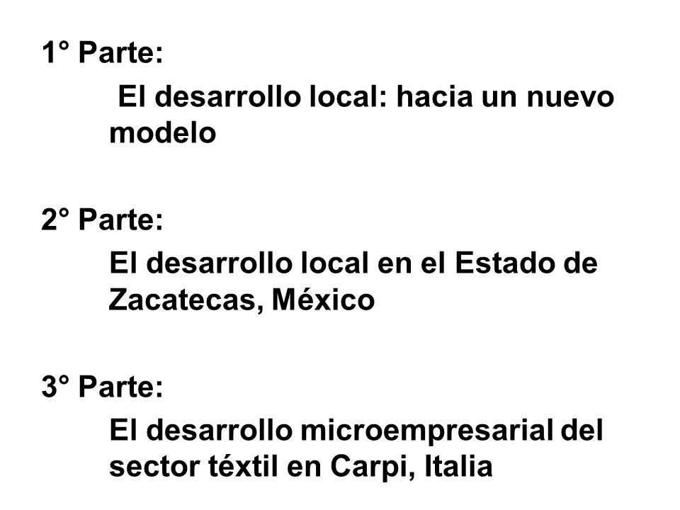 1° Parte: El desarrollo local: hacia un nuevo modelo 2° Parte: El desarrollo local en el Estado de Zacatecas, México 3° Parte: El desarrollo microempr