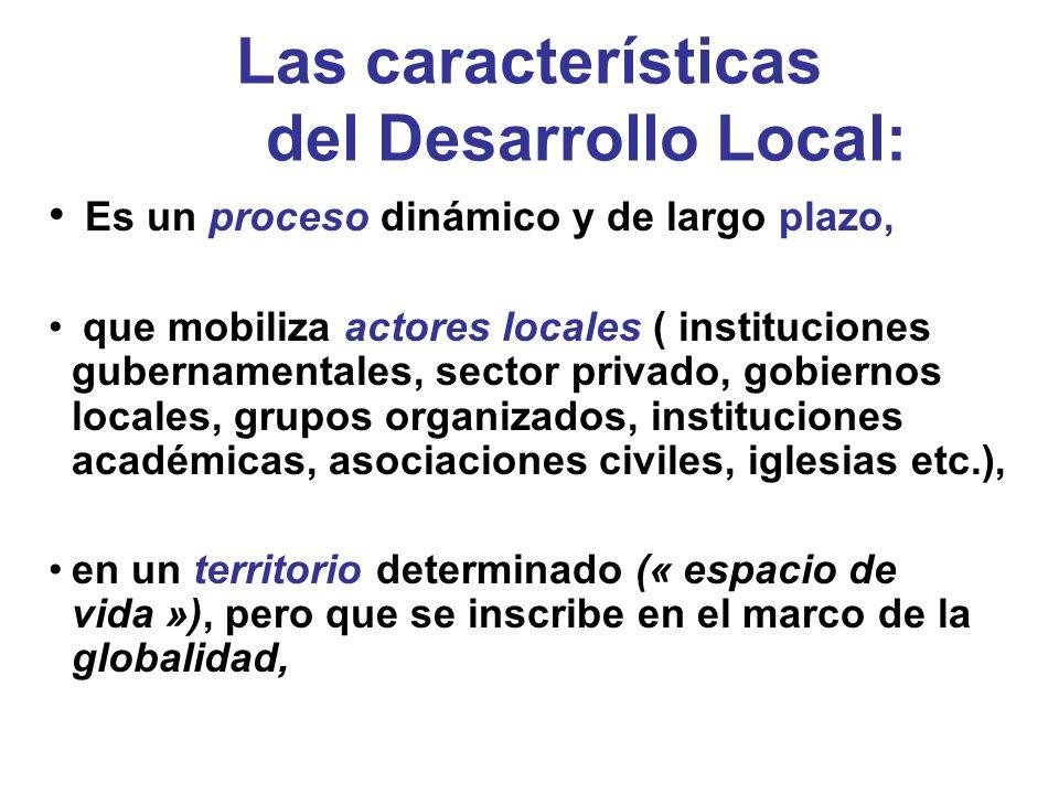 Las características del Desarrollo Local: Es un proceso dinámico y de largo plazo, que mobiliza actores locales ( instituciones gubernamentales, secto