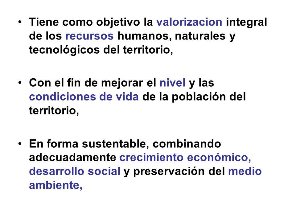 Tiene como objetivo la valorizacion integral de los recursos humanos, naturales y tecnológicos del territorio, Con el fin de mejorar el nivel y las co