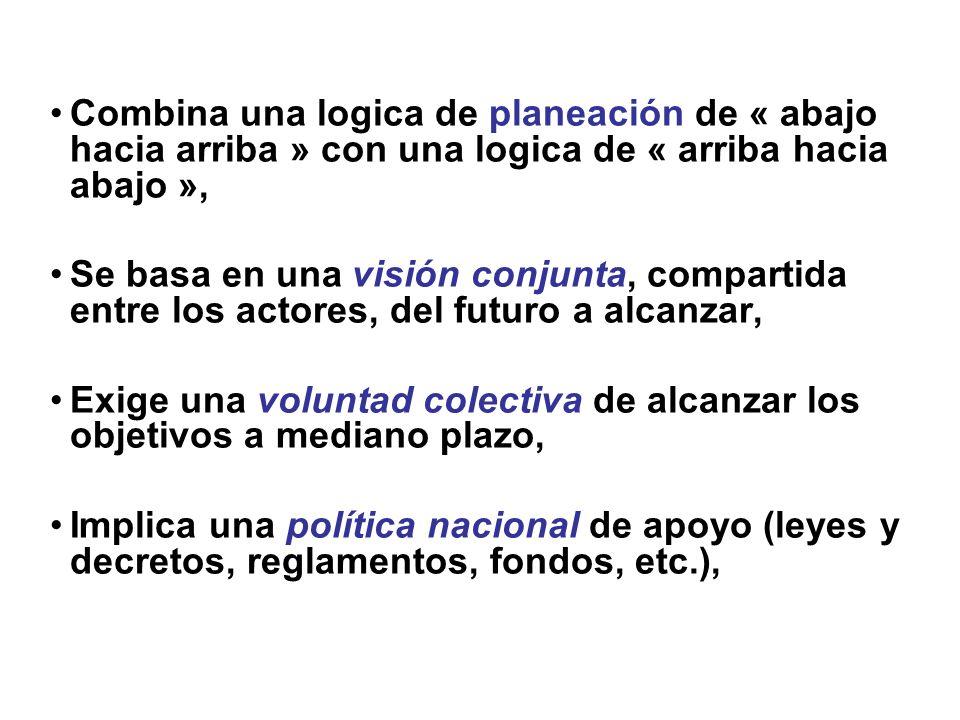Combina una logica de planeación de « abajo hacia arriba » con una logica de « arriba hacia abajo », Se basa en una visión conjunta, compartida entre