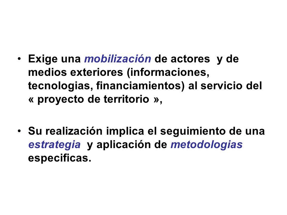 Exige una mobilización de actores y de medios exteriores (informaciones, tecnologias, financiamientos) al servicio del « proyecto de territorio », Su