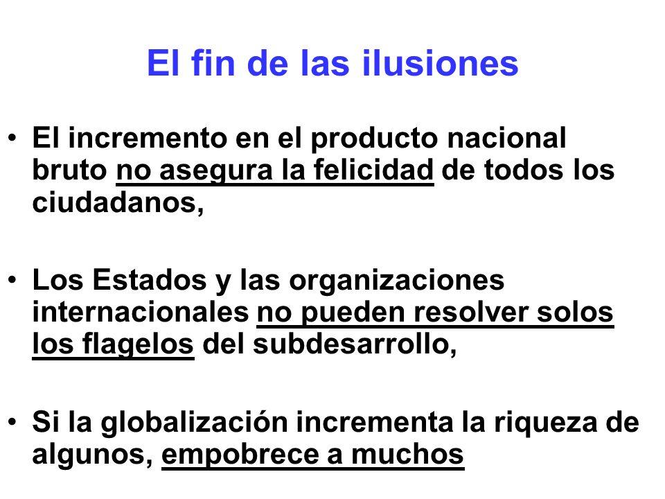 El fin de las ilusiones El incremento en el producto nacional bruto no asegura la felicidad de todos los ciudadanos, Los Estados y las organizaciones