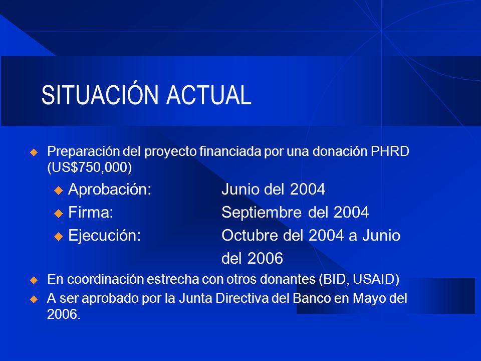 SITUACIÓN ACTUAL Preparación del proyecto financiada por una donación PHRD (US$750,000) u Aprobación: Junio del 2004 u Firma:Septiembre del 2004 u Ejecución: Octubre del 2004 a Junio del 2006 En coordinación estrecha con otros donantes (BID, USAID) A ser aprobado por la Junta Directiva del Banco en Mayo del 2006.