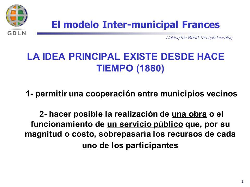Linking the World Through Learning 4 El modelo Inter-municipal Frances LA INTER-MUNICIPALIDAD: VARIAS FORMAS Y DOS PUNTOS EN COMÚN 1- LOS MUNICIPIOS ASOCIADOS SIGUEN SIENDO VERDADEROS MUNICIPIOS 2- EL MARCO JURÍDICO ES EL DEL « ESTABLECIMIENTO PÚBLICO », CON IDENTIDAD JURÍDICA PROPIA (se le aplica las mismas normas jurídicas y contables públicas que a un municipio)