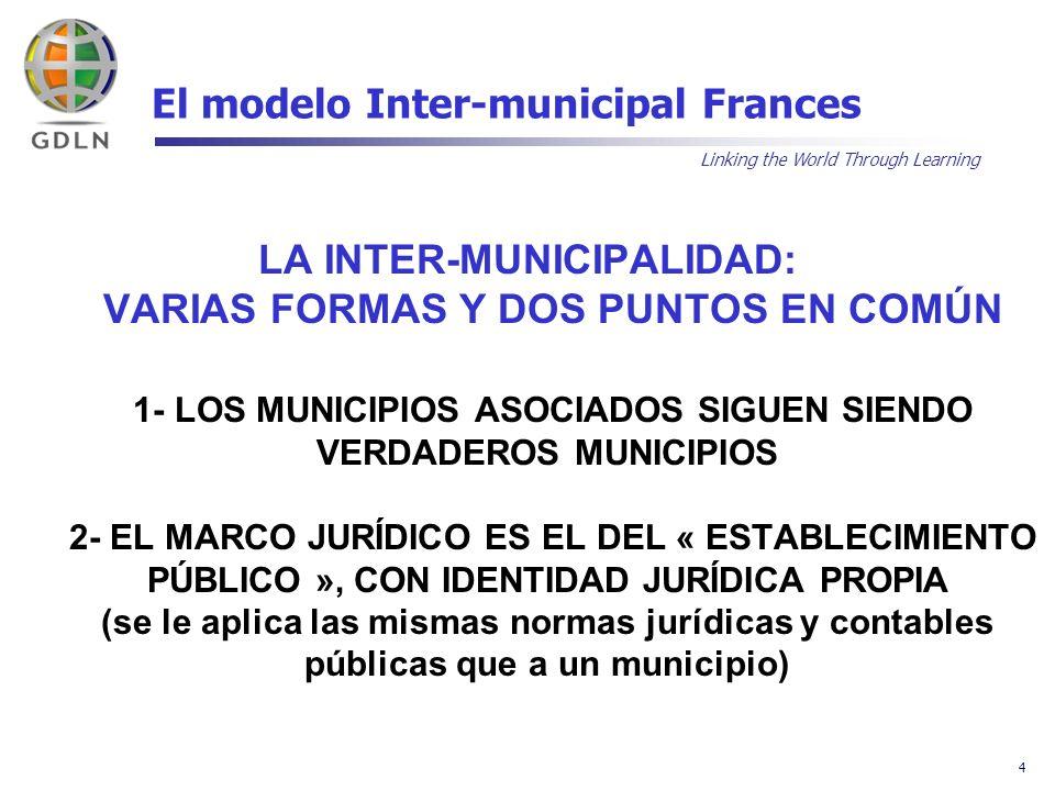 Linking the World Through Learning 15 El modelo Inter-municipal Frances E) ORGANIZACIÓN POLITICA EL FUNCIONAMIENTO DE LA ASOCIACIÓN ES EL DE UN MUNICIPIO, CON UNA ASAMBLEA Y UN PRESIDENTE 1- EL COMITE SINDICAL (ASAMBLEA DELIBERATIVA) Cada municipio tiene derecho a 2 delegados representantes, elegidos por la asamblea municipal de origen y por el tiempo que dure la asamblea que los eligió Con excepción a ese principio de igualdad solamente si esta previsto en los estatutos de creación por diferencias demográficas o financieras