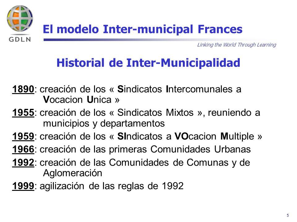 Linking the World Through Learning 6 El modelo Inter-municipal Frances UNA GRAN VARIEDAD DE REALIDADES 1- PUEDEN SER SIMPLES ASOCIACIONES TEMPORALES, LIMITADAS A UN SOLO OBJETIVO PRECISO La asociación se resume a ser una nueva identidad jurídica que se suma a las ya existentes 2- PUEDEN SER ESTRUCTURAS DE TIPO FEDERAL A la cual cada uno decide integrarse y donde la transferencia de competencias no es mayoritaria 3- O SER UNA TÉCNICA DE INTEGRACIÓN PERFECCIONADA Que se parece a una verdadera colectividad independiente y donde los municipios miembros pierden sus poderes esenciales