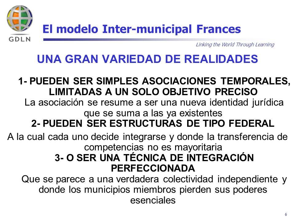 Linking the World Through Learning 7 El modelo Inter-municipal Frances 3 MARCOS JURIDICOS IDENTIFICADOS: 1- LA ASOCIACIÓN PÚBLICA INTER-MUNICIPAL (llamada « Sindicato Inter-comunal ») 2- LA COMUNIDAD DE COMUNAS o DE AGLOMERACIÓN 3- LA COMUNIDAD URBANA