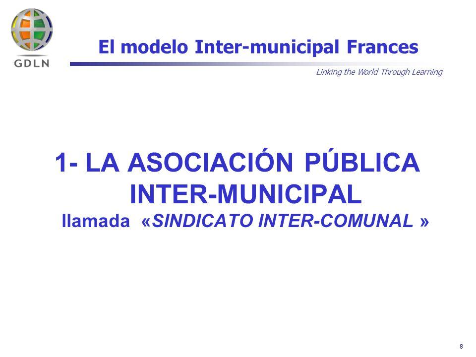 Linking the World Through Learning 9 El modelo Inter-municipal Frances A) GRAN VARIEDAD DE ASOCIACIONES: La regla inicial de especificidad que caracteriza la idea no prohibe una cierta diversificación de las misiones de la asociación.