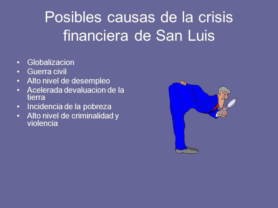 Posibles causas de la crisis financiera de San Luis Globalizacion Guerra civil Alto nivel de desempleo Acelerada devaluacion de la tierra Incidencia de la pobreza Alto nivel de criminalidad y violencia