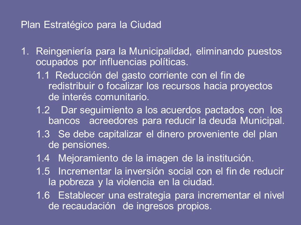 Plan Estratégico para la Ciudad 1.Reingeniería para la Municipalidad, eliminando puestos ocupados por influencias políticas.