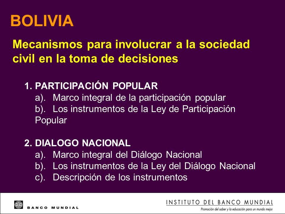 BOLIVIA Mecanismos para involucrar a la sociedad civil en la toma de decisiones 1.PARTICIPACIÓN POPULAR a).Marco integral de la participación popular
