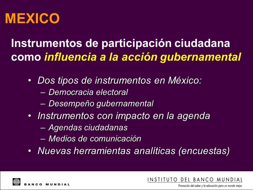 MEXICO Dos tipos de instrumentos en México: Dos tipos de instrumentos en México: – Democracia electoral – Desempeño gubernamental Instrumentos con imp