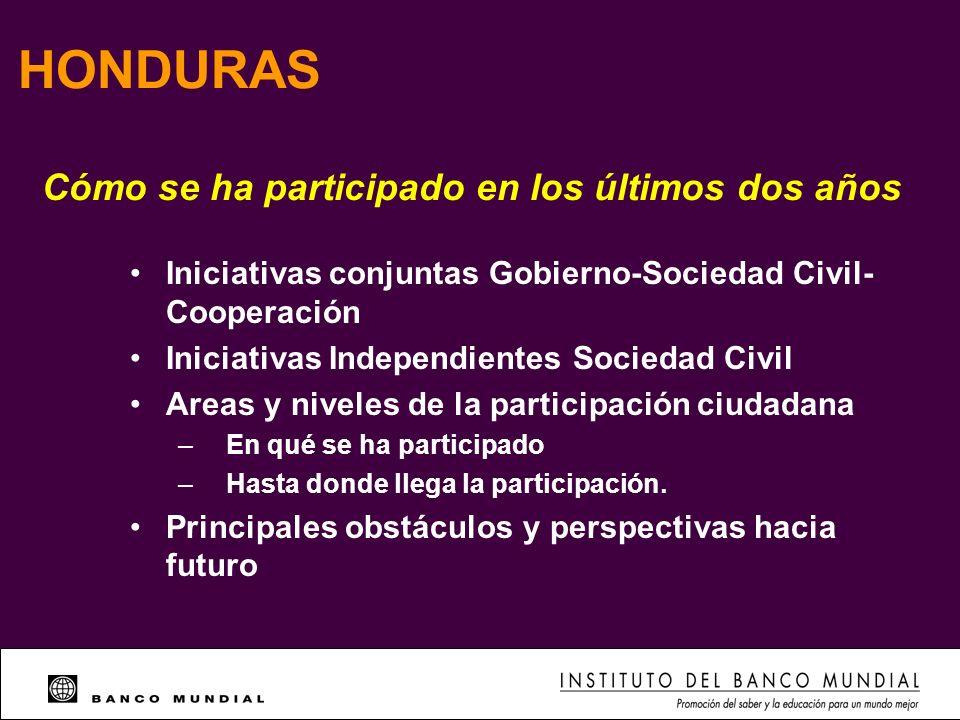 HONDURAS Iniciativas conjuntas Gobierno-Sociedad Civil- Cooperación Iniciativas Independientes Sociedad Civil Areas y niveles de la participación ciud