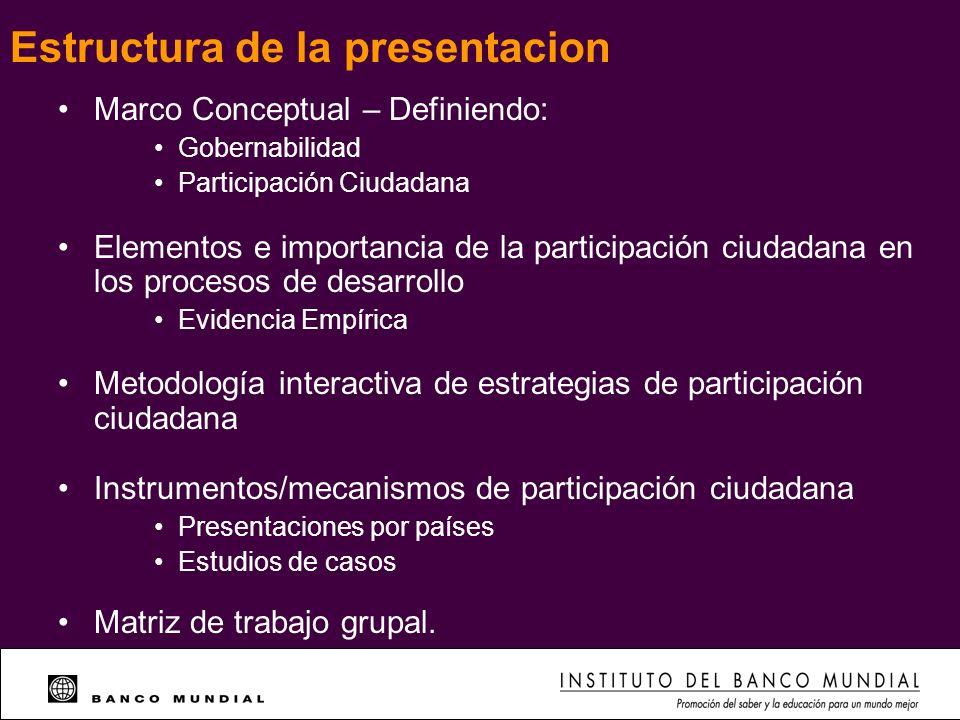 Marco Conceptual – Definiendo: Gobernabilidad Participación Ciudadana Elementos e importancia de la participación ciudadana en los procesos de desarro