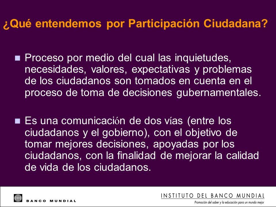 ¿Qué entendemos por Participación Ciudadana? n Proceso por medio del cual las inquietudes, necesidades, valores, expectativas y problemas de los ciuda