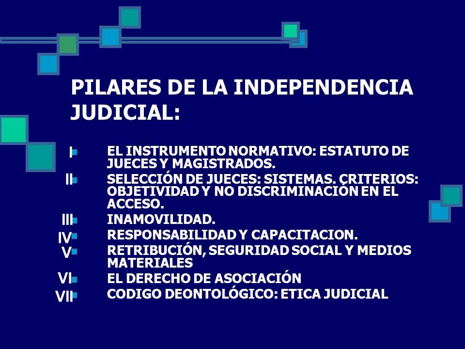 PILARES DE LA INDEPENDENCIA JUDICIAL: EL INSTRUMENTO NORMATIVO: ESTATUTO DE JUECES Y MAGISTRADOS. SELECCIÓN DE JUECES: SISTEMAS. CRITERIOS: OBJETIVIDA
