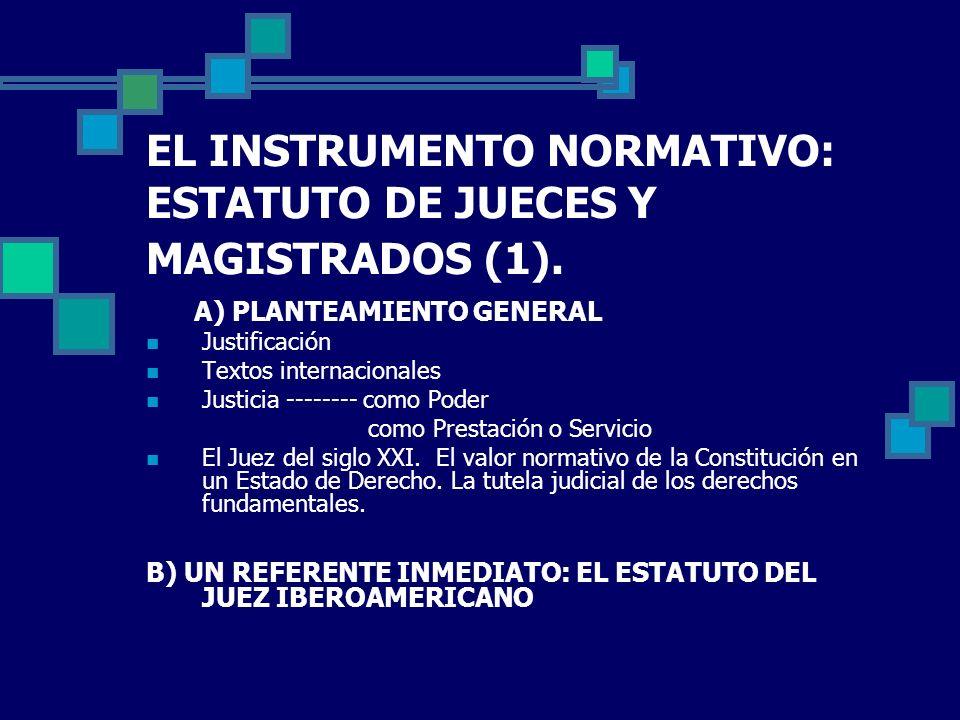 EL INSTRUMENTO NORMATIVO: ESTATUTO DE JUECES Y MAGISTRADOS (1). A) PLANTEAMIENTO GENERAL Justificación Textos internacionales Justicia -------- como P