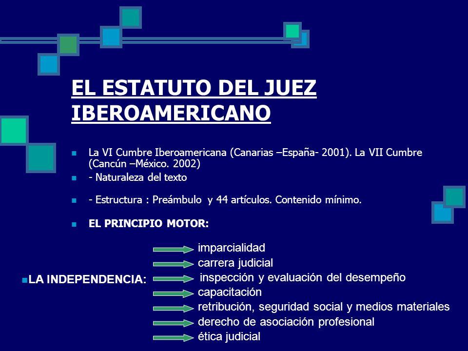 EL ESTATUTO DEL JUEZ IBEROAMERICANO La VI Cumbre Iberoamericana (Canarias –España- 2001). La VII Cumbre (Cancún –México. 2002) - Naturaleza del texto
