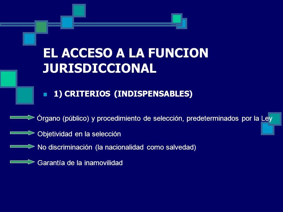 EL ACCESO A LA FUNCION JURISDICCIONAL 1) CRITERIOS (INDISPENSABLES) Órgano (público) y procedimiento de selección, predeterminados por la Ley Objetivi