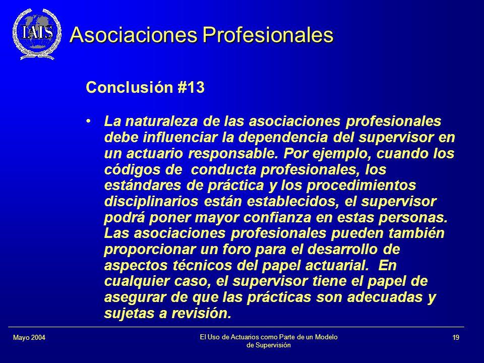 El Uso de Actuarios como Parte de un Modelo de Supervisión 19Mayo 2004 Asociaciones Profesionales Conclusión #13 La naturaleza de las asociaciones pro