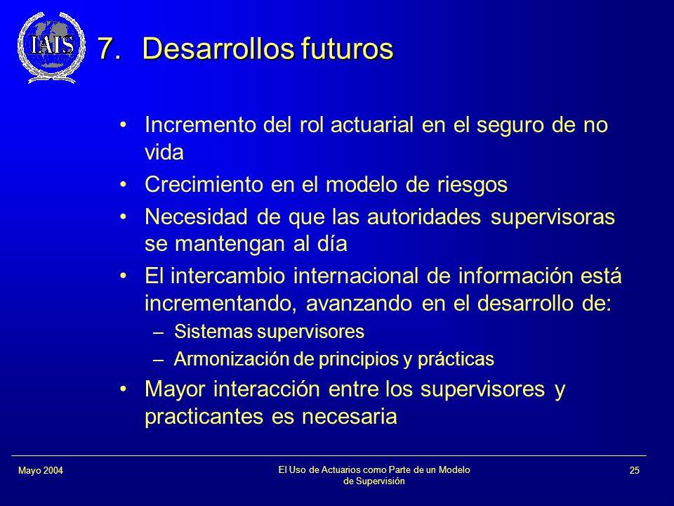 El Uso de Actuarios como Parte de un Modelo de Supervisión 25Mayo 2004 7.Desarrollos futuros Incremento del rol actuarial en el seguro de no vida Crec