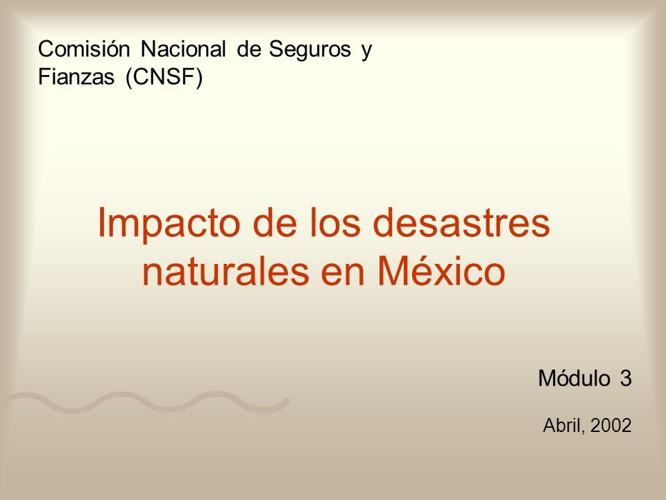 Módulo 3 Abril, 2002 Comisión Nacional de Seguros y Fianzas (CNSF) Impacto de los desastres naturales en México