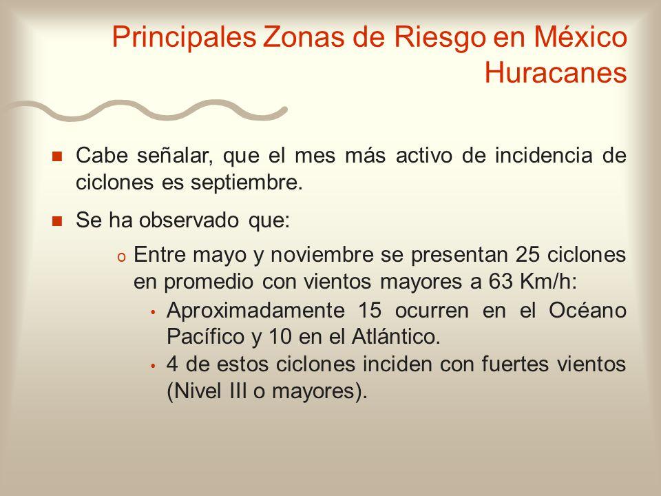 n n Cabe señalar, que el mes más activo de incidencia de ciclones es septiembre. n n Se ha observado que: o o Entre mayo y noviembre se presentan 25 c