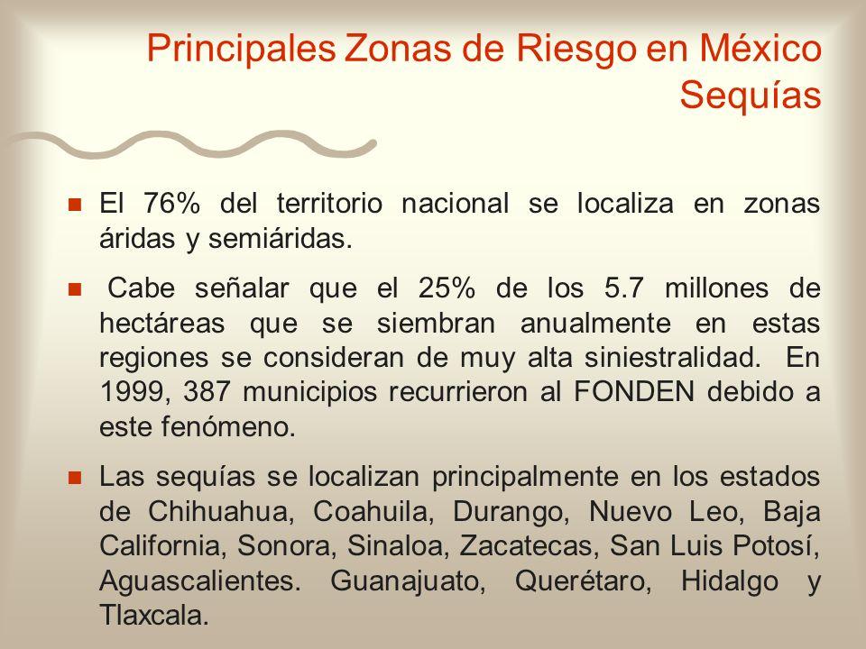 n n El 76% del territorio nacional se localiza en zonas áridas y semiáridas. n n Cabe señalar que el 25% de los 5.7 millones de hectáreas que se siemb