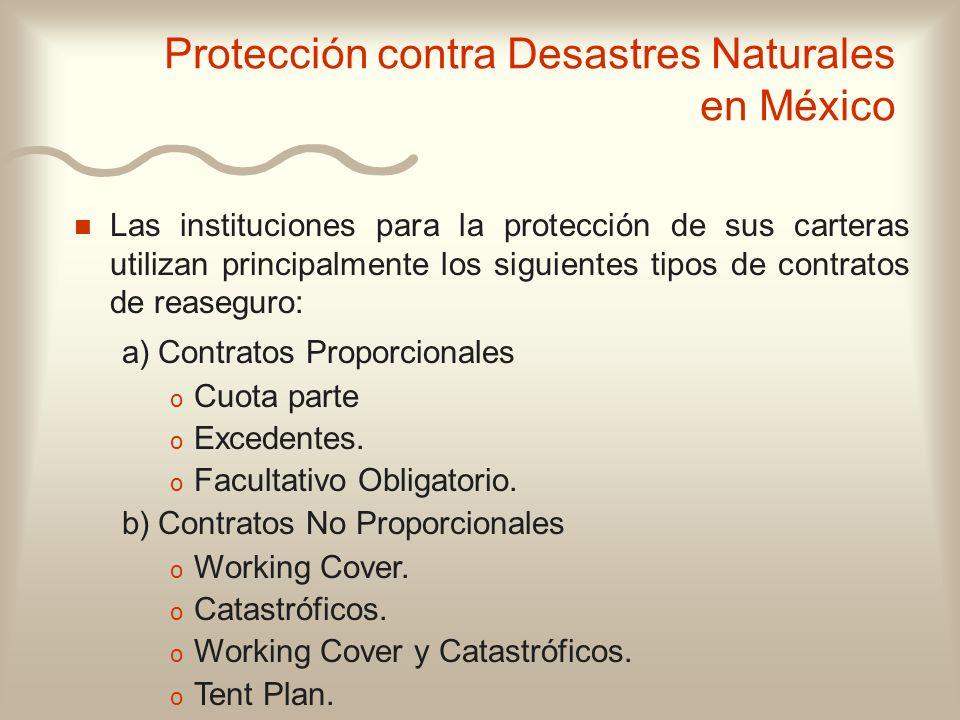 n n Las instituciones para la protección de sus carteras utilizan principalmente los siguientes tipos de contratos de reaseguro: a) Contratos Proporci