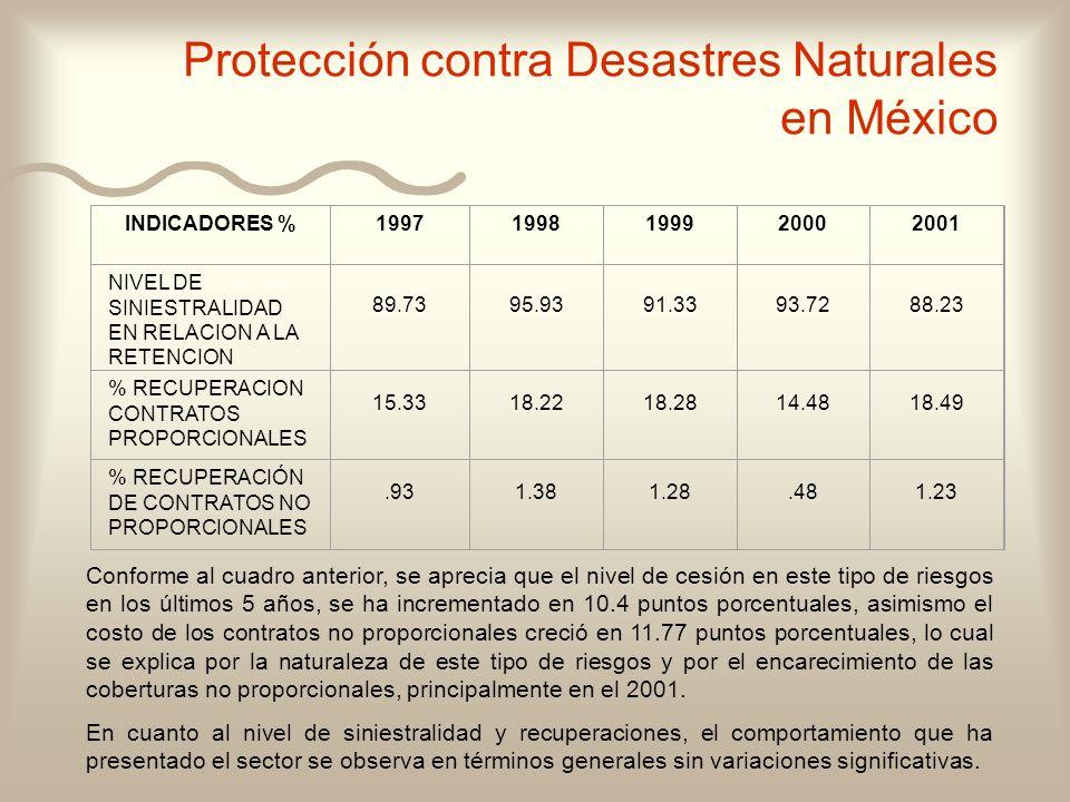 Protección contra Desastres Naturales en México INDICADORES %19971998199920002001 NIVEL DE SINIESTRALIDAD EN RELACION A LA RETENCION 89.7395.9391.3393