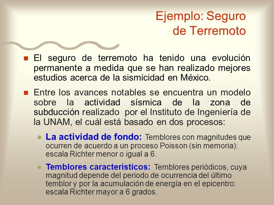 Ejemplo: Seguro de Terremoto n n El seguro de terremoto ha tenido una evolución permanente a medida que se han realizado mejores estudios acerca de la