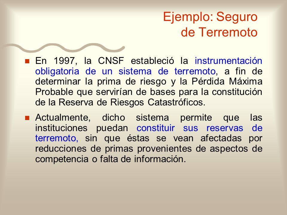 Ejemplo: Seguro de Terremoto n n En 1997, la CNSF estableció la instrumentación obligatoria de un sistema de terremoto, a fin de determinar la prima d