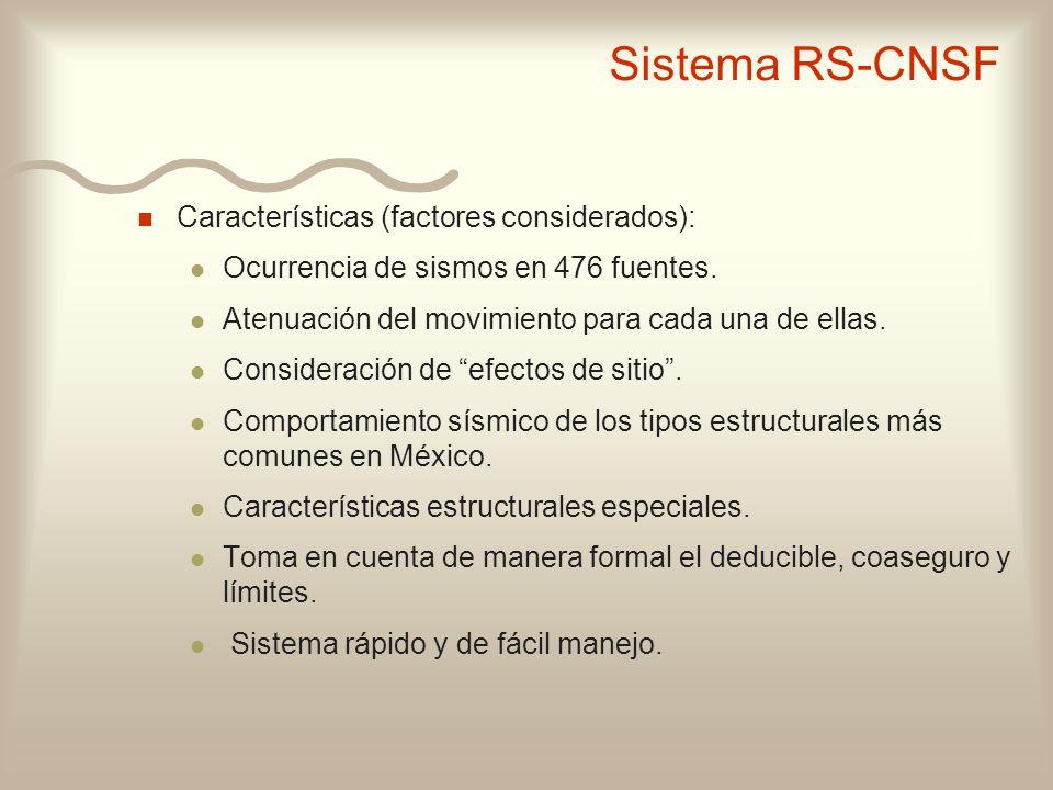 n Características (factores considerados): l Ocurrencia de sismos en 476 fuentes. l Atenuación del movimiento para cada una de ellas. l Consideración