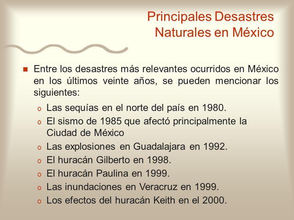 n n Entre los desastres más relevantes ocurridos en México en los últimos veinte años, se pueden mencionar los siguientes: o o Las sequías en el norte