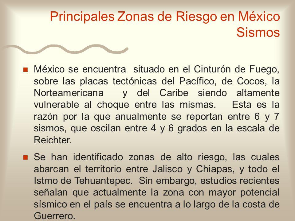 n n México se encuentra situado en el Cinturón de Fuego, sobre las placas tectónicas del Pacífico, de Cocos, la Norteamericana y del Caribe siendo alt