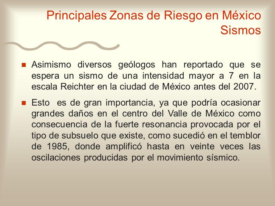 n n Asimismo diversos geólogos han reportado que se espera un sismo de una intensidad mayor a 7 en la escala Reichter en la ciudad de México antes del
